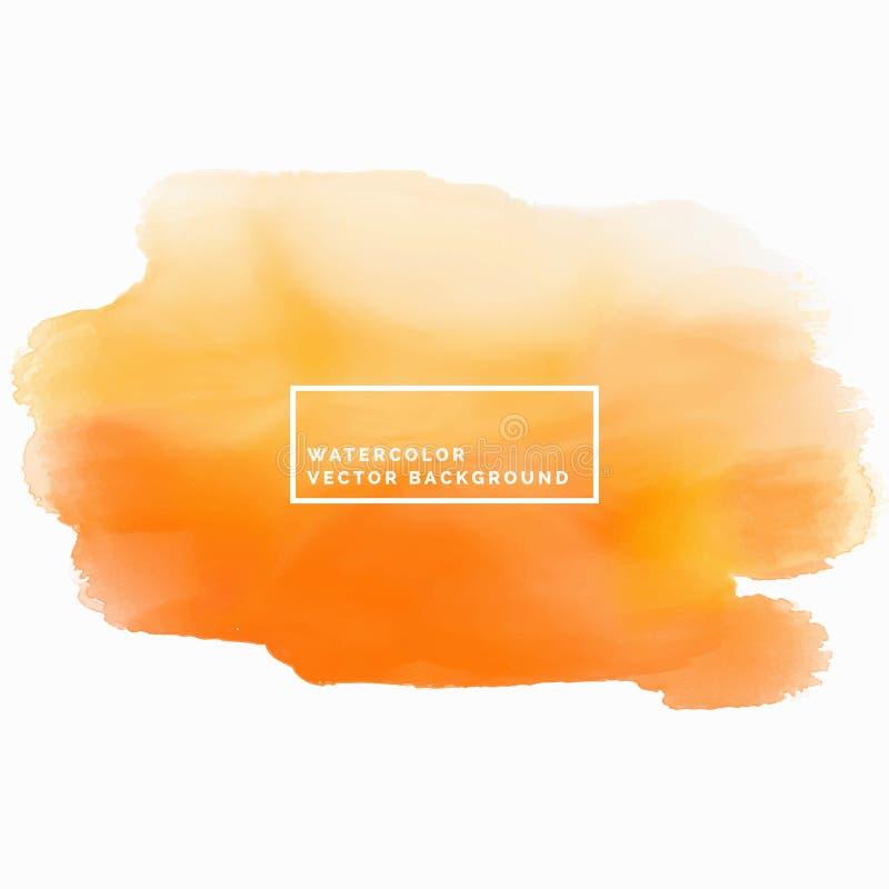 Orange watercolor texture background. Watercolor brush stroke. Vector vector illustration