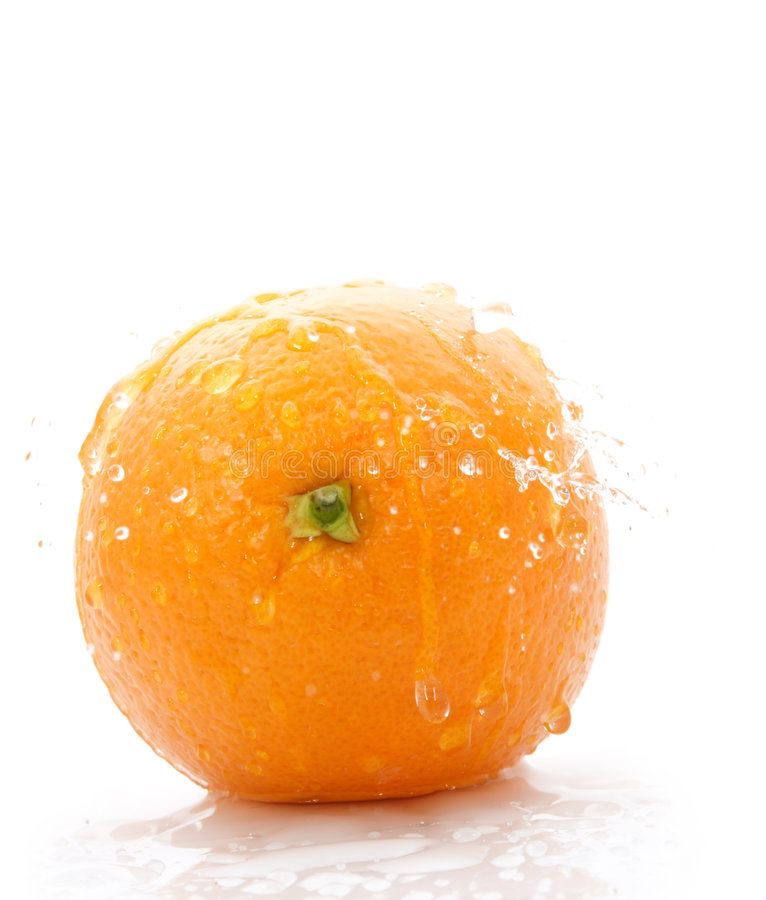 Orange with waterdrops royalty free stock photos