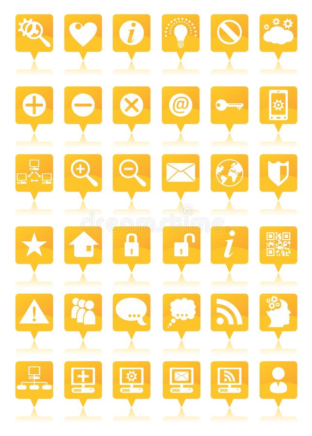 Download Orange web icons set stock vector. Image of isolated - 35405242
