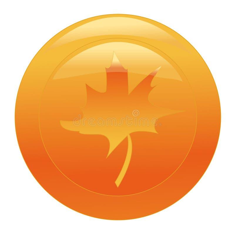 Orange Web-Taste mit Ahornblatt stock abbildung