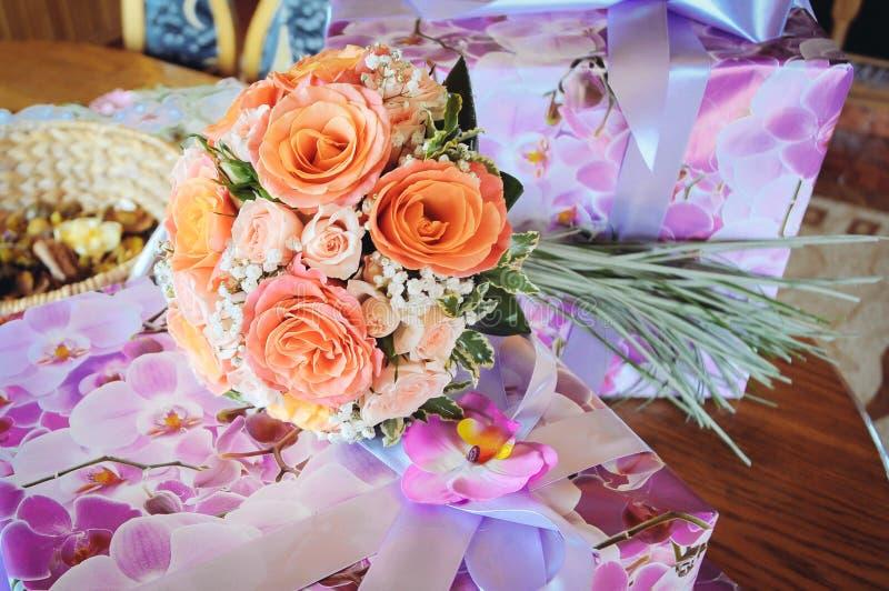 Orange Wedding bouquet stock photography