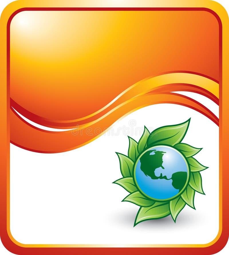 Orange Wellenhintergrund mit grünem Planeten vektor abbildung