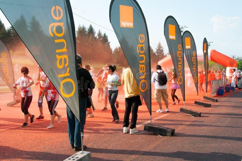 Orange Werbungen stockfotos