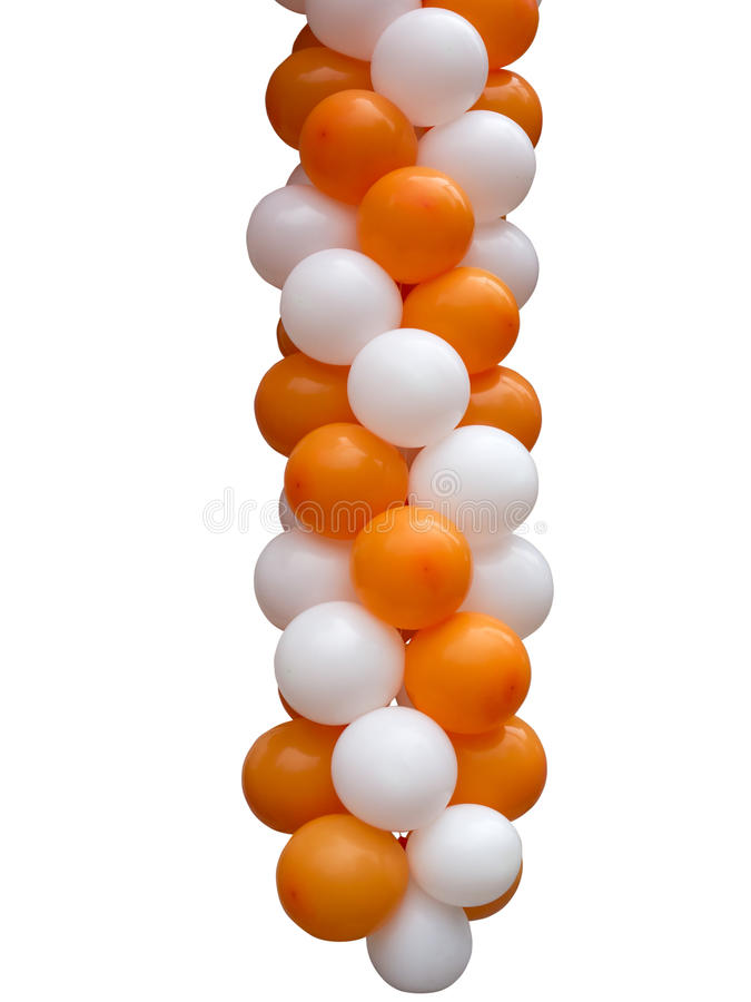 Orange and white balloons isolated on white stock image