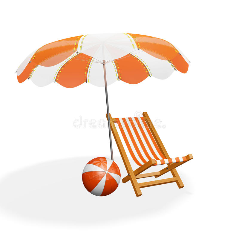 Orange White Beach Lounger Parasol and Ball. A 3D illustration of an orange and white striped beach lounging chair under a parasol and a beach ball lying near it stock photography