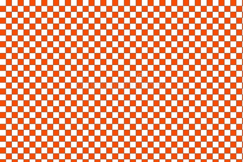 Orange and white checkered retro background stock illustration