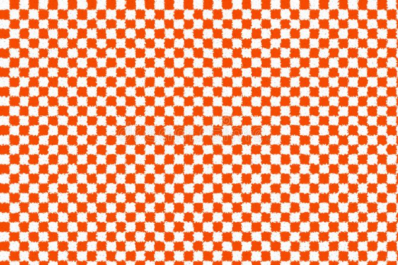 Orange and white cubist checkered retro background stock illustration