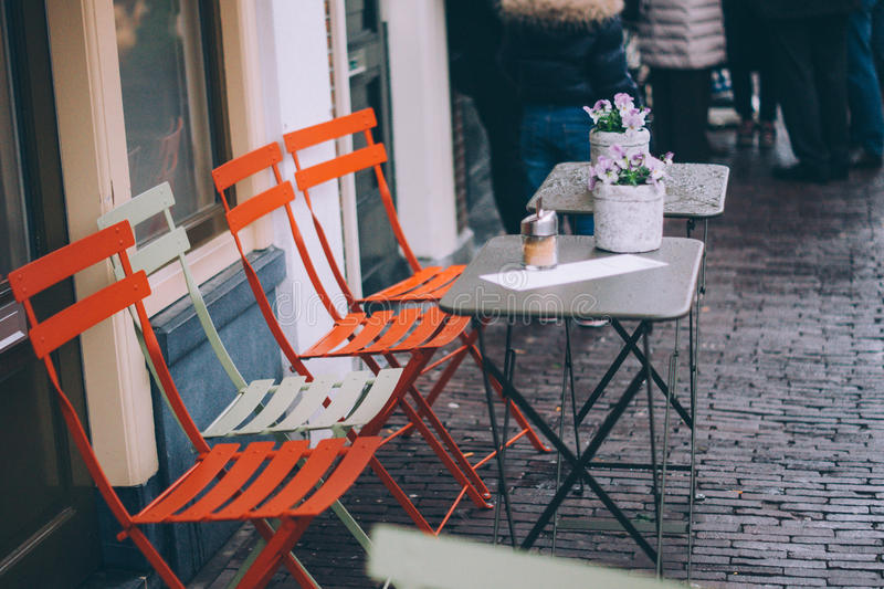 Orange And White Metal Chair In Front Of Table Free Public Domain Cc0 Image