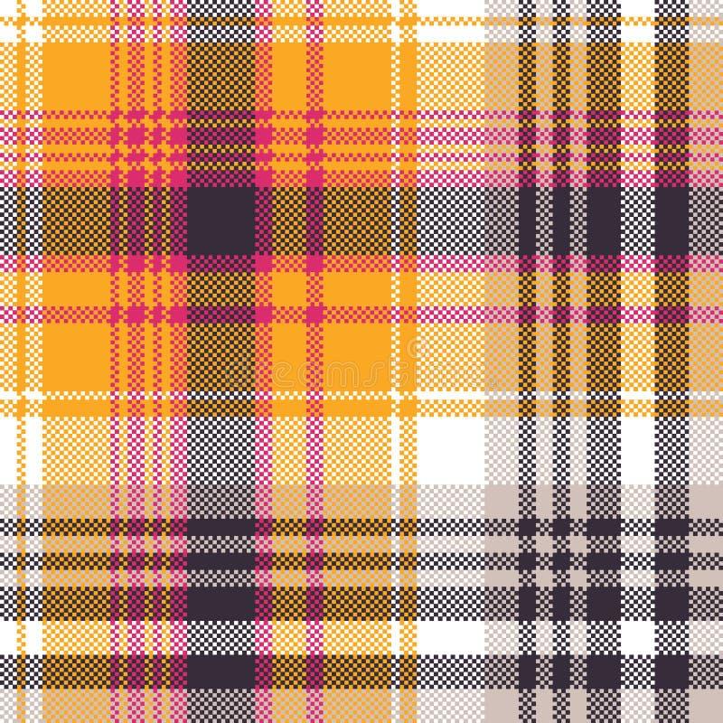 Orange white pixel seamless fabric texture. Vector illustration vector illustration