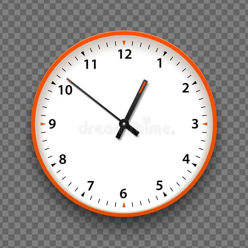 Orange and white wall office clock icon with numbers. Design template vector closeup. Mock-up for branding and advertise isolated stock images
