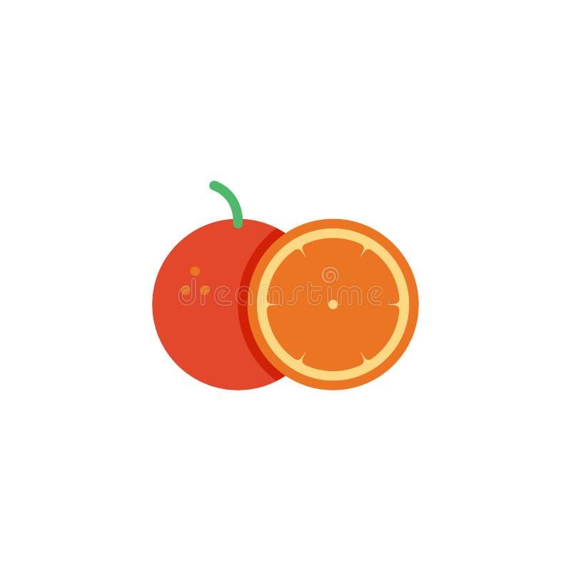 Orange whole and slice flat icon royalty free illustration