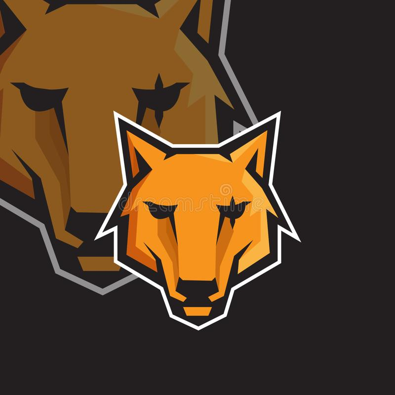 Wolf face e sport gaming mascot logo template stock illustration