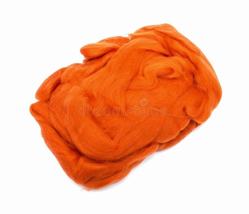 Orange wool fiber ball royalty free stock image