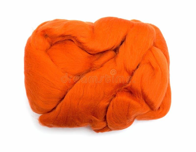 Orange wool fiber ball stock photos