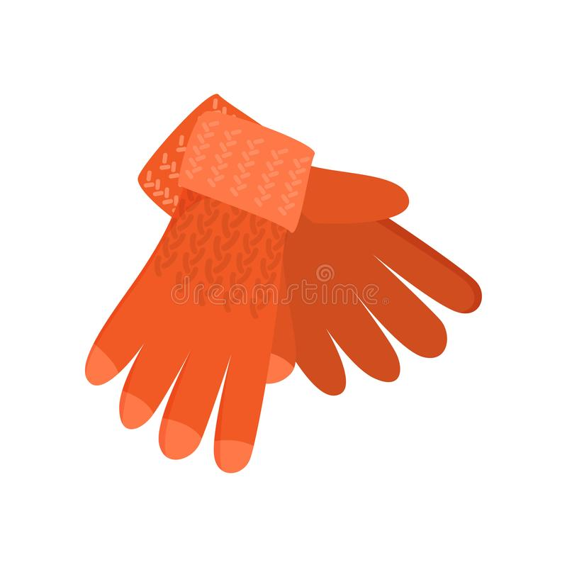 Orange woolen selbst gemachte Winterhandschuhe, von der reizenden Mutter lizenzfreie abbildung