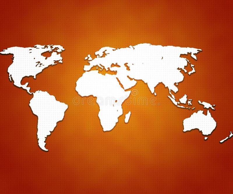 Orange World Map Background royalty free illustration