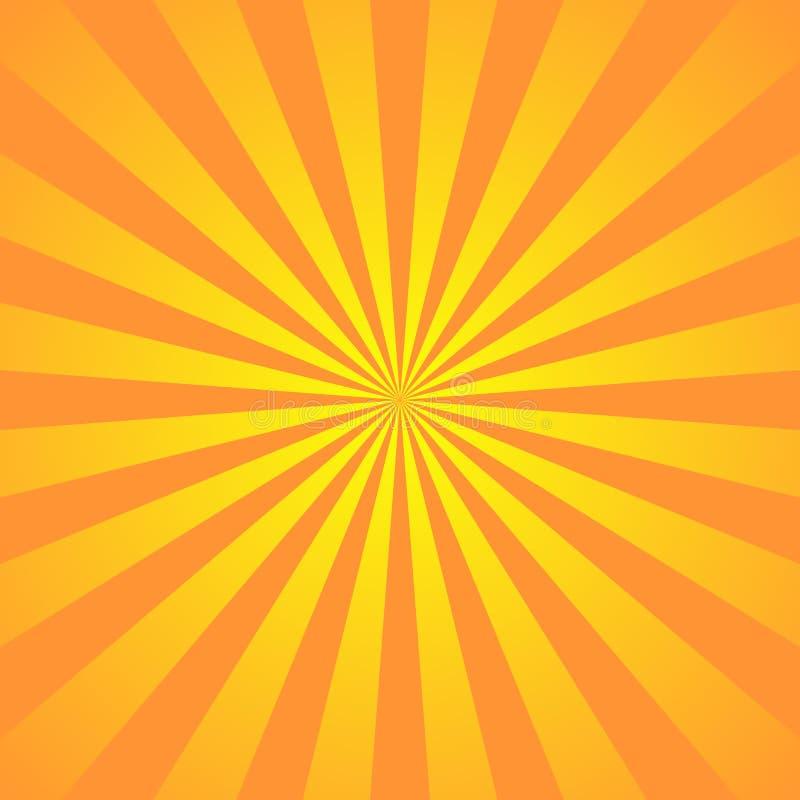 Orange yellow background superhero. Super hero cartoon gradient texture. Sun rays burst. Radiate sun beam, burst effect stock illustration