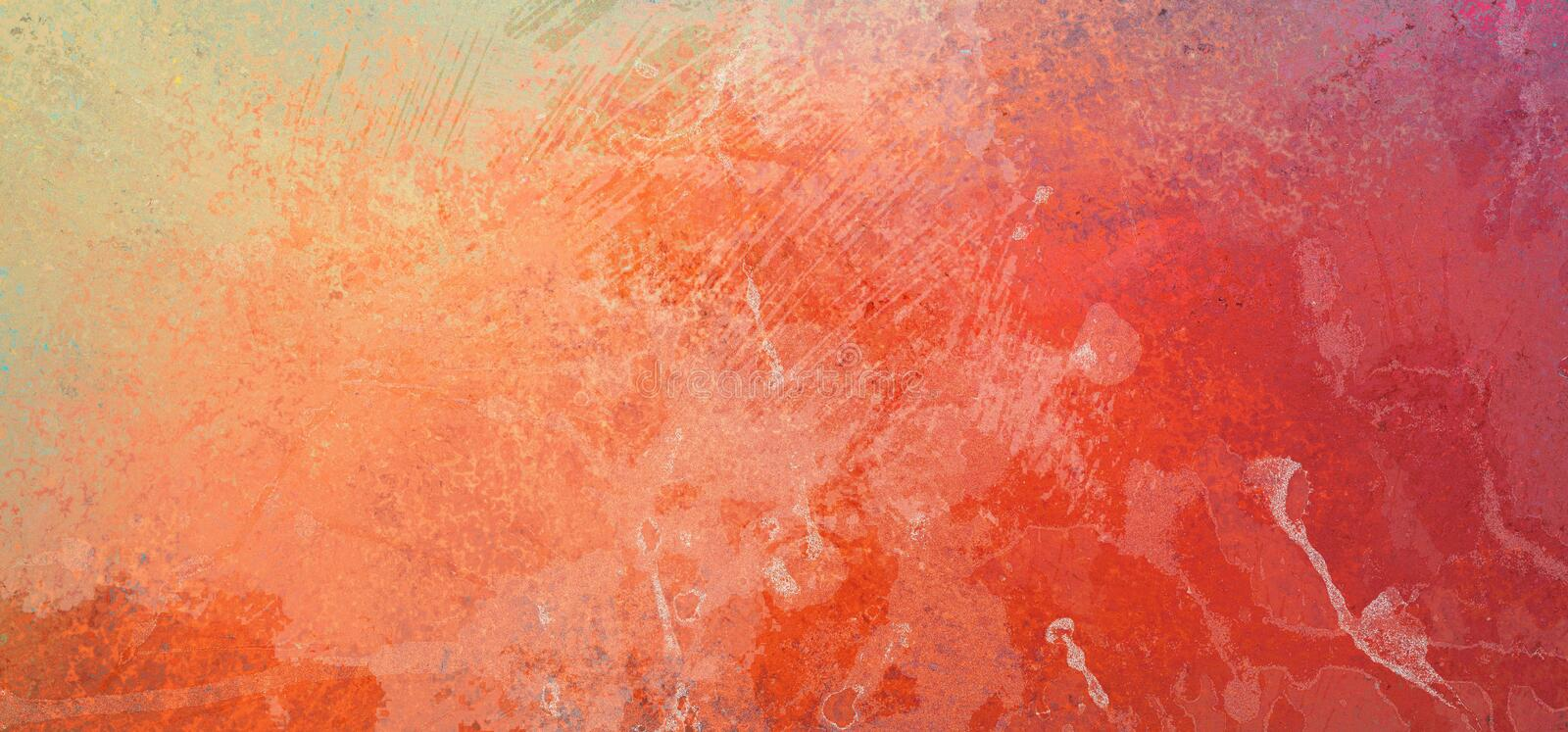 Orange and yellow background with white grunge texture and distressed paint spatter and drips with old scratched brush stroke mark royalty free illustration