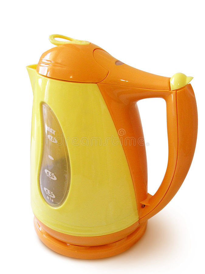 Orange And Yellow Cordless Jug Kettle royalty free stock photography