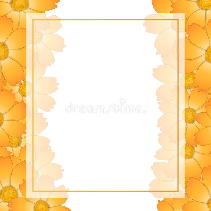 Orange Yellow Cosmos Flower Banner Card. Vector Illustration vector illustration