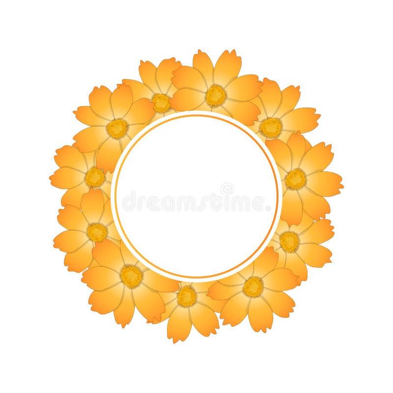 Orange Yellow Cosmos Flower Banner Wreath. Vector Illustration stock illustration