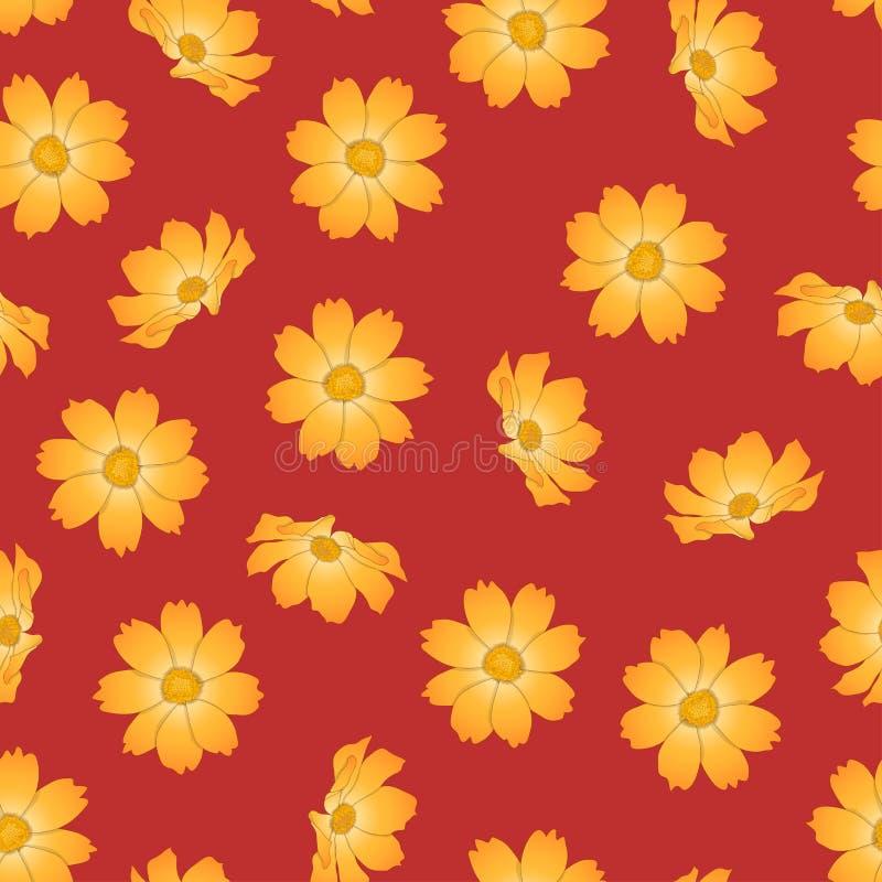 Orange Yellow Cosmos Flower on Red Background. Vector Illustration.  vector illustration