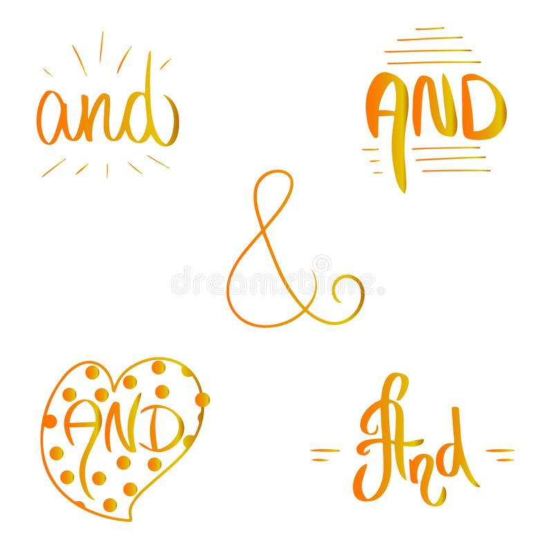 Orange yellow gradient Catch word And. Ampersand vector illustration hand drawn brush style in heart border and frames. vector illustration