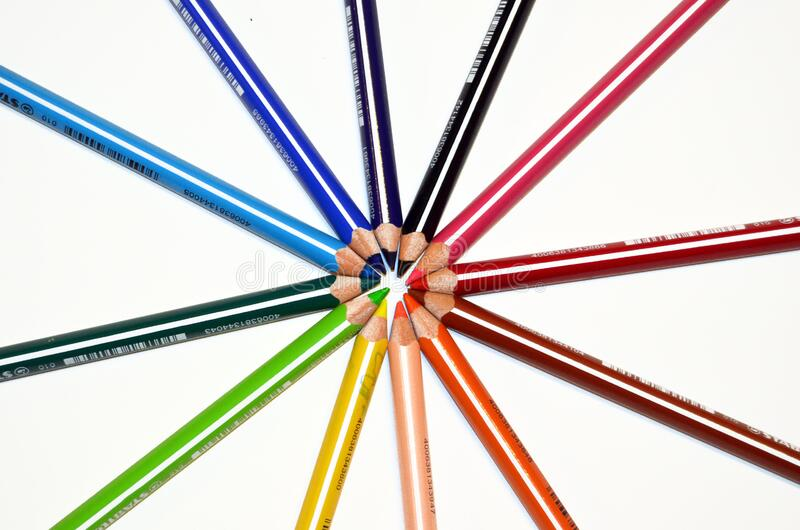 Orange Yellow Green Blue Red and Black Color Pencil royalty free stock images