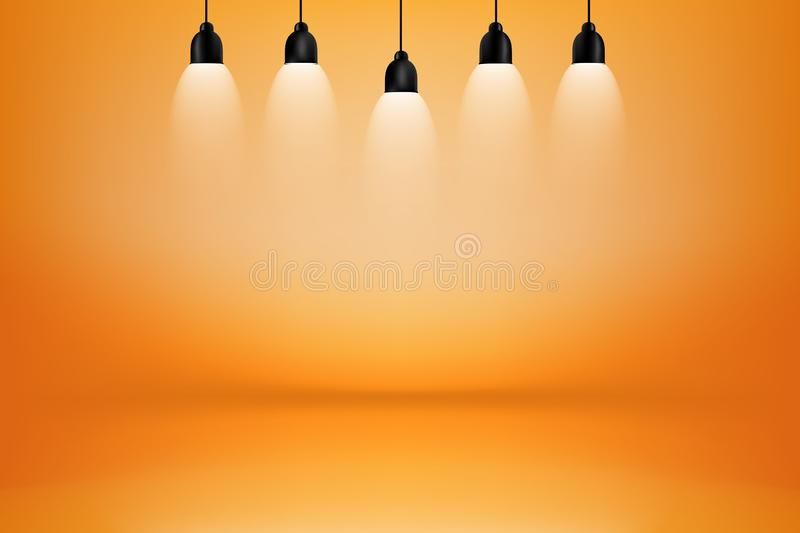orange and yellow studio room with light box  background stock images