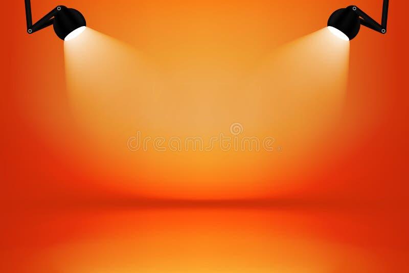 orange and yellow studio room with light box  background stock photo