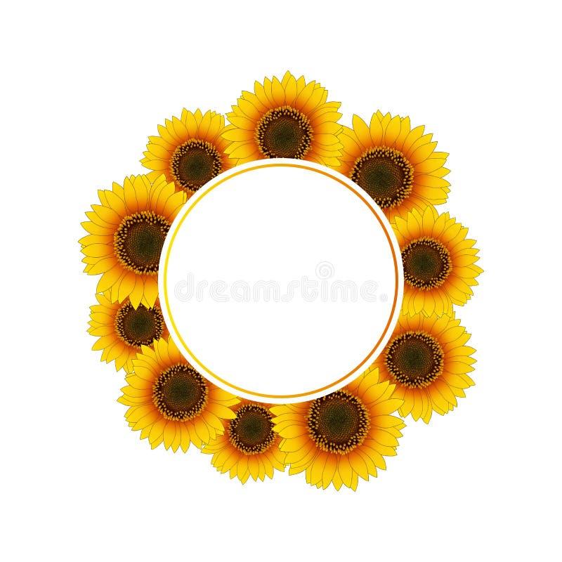 Orange Yellow Sunflower Banner Wreath isolated on White Background. Vector Illustration.  vector illustration