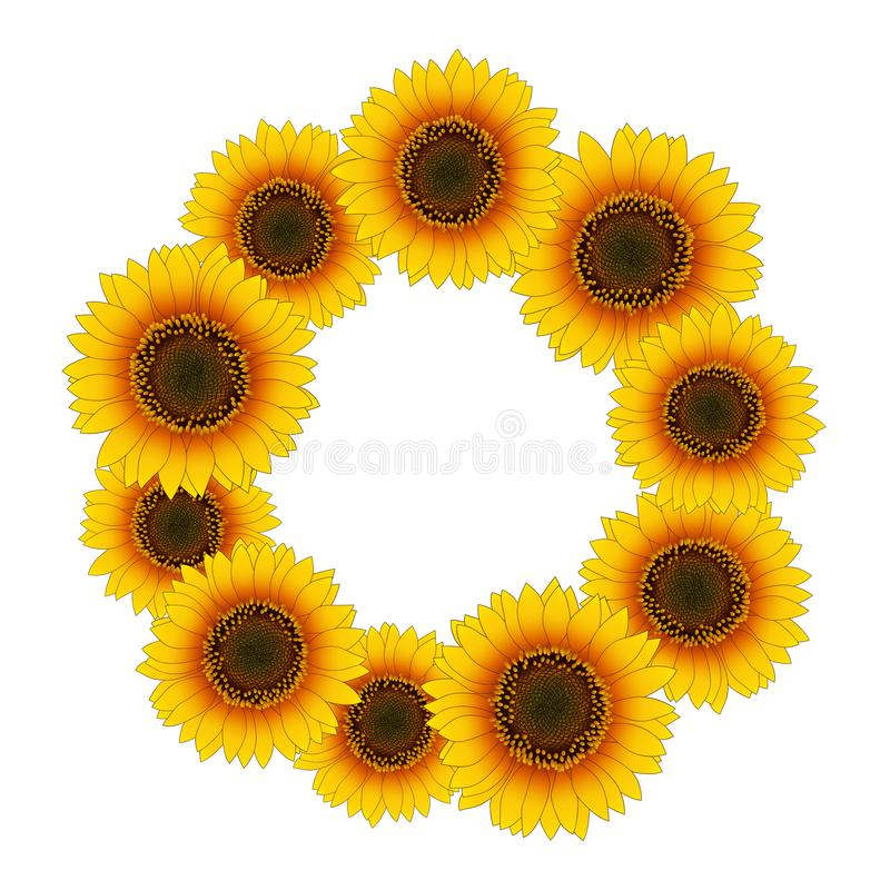 Orange Yellow Sunflower Wreath isolated on White Background. Vector Illustration. royalty free illustration