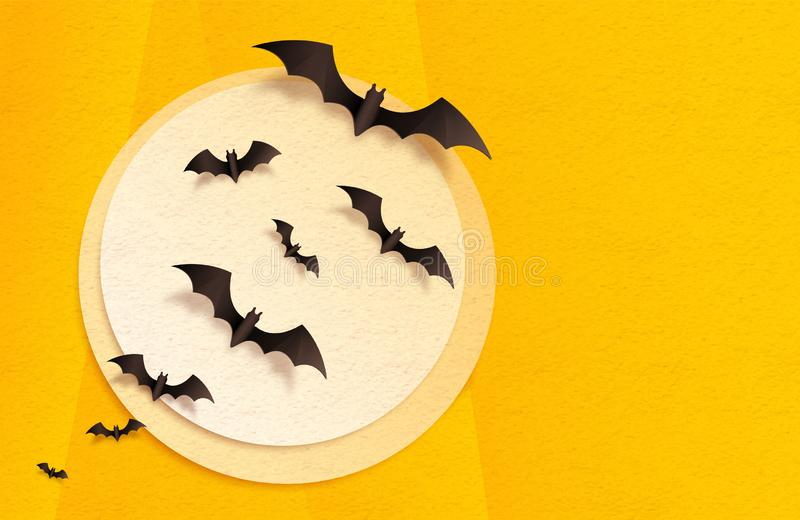 Orange and yellow textured craft paper moon and black bats, vector Halloween greeting card background.  royalty free illustration