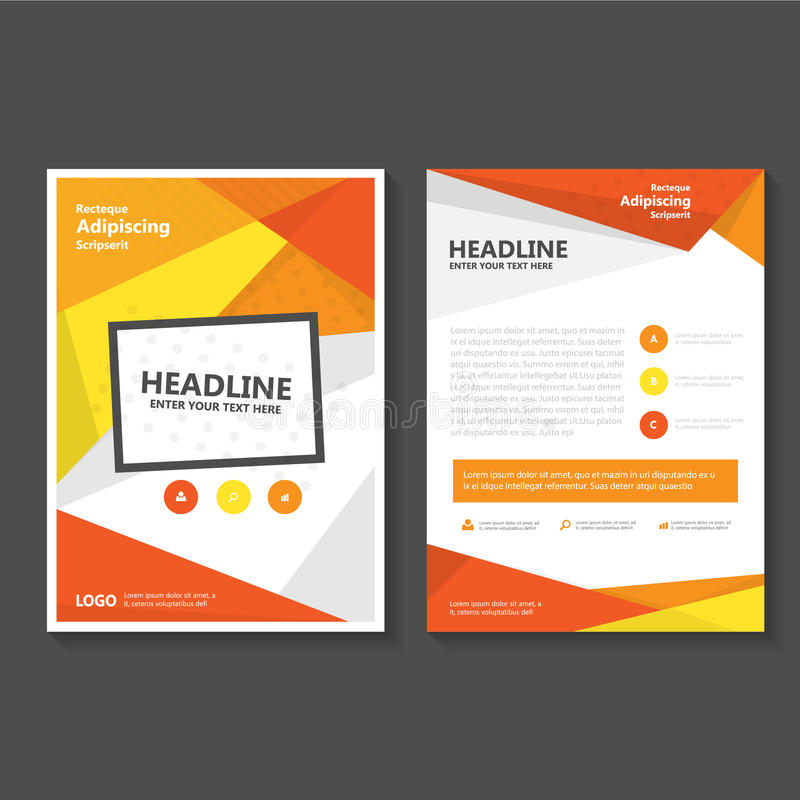 Brochure Booklet Flyer Or Book Cover Template Vector : Orange yellow vector leaflet brochure flyer template
