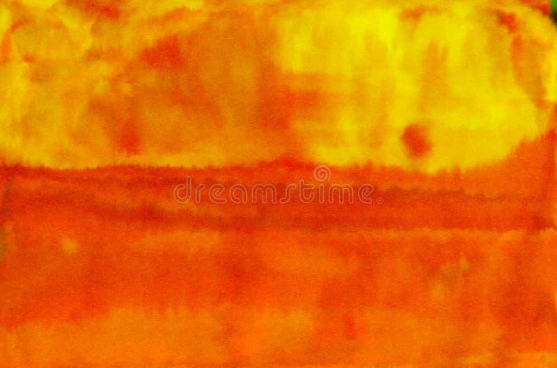 Orange yellow warm watercolor textured background stock illustration