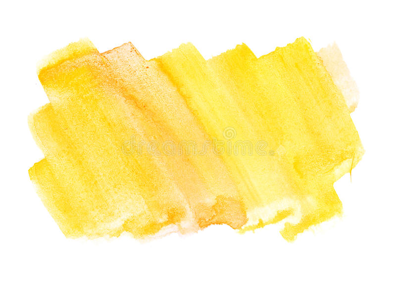 Orange yellow water color paint rough square shape texture on white background stock photo