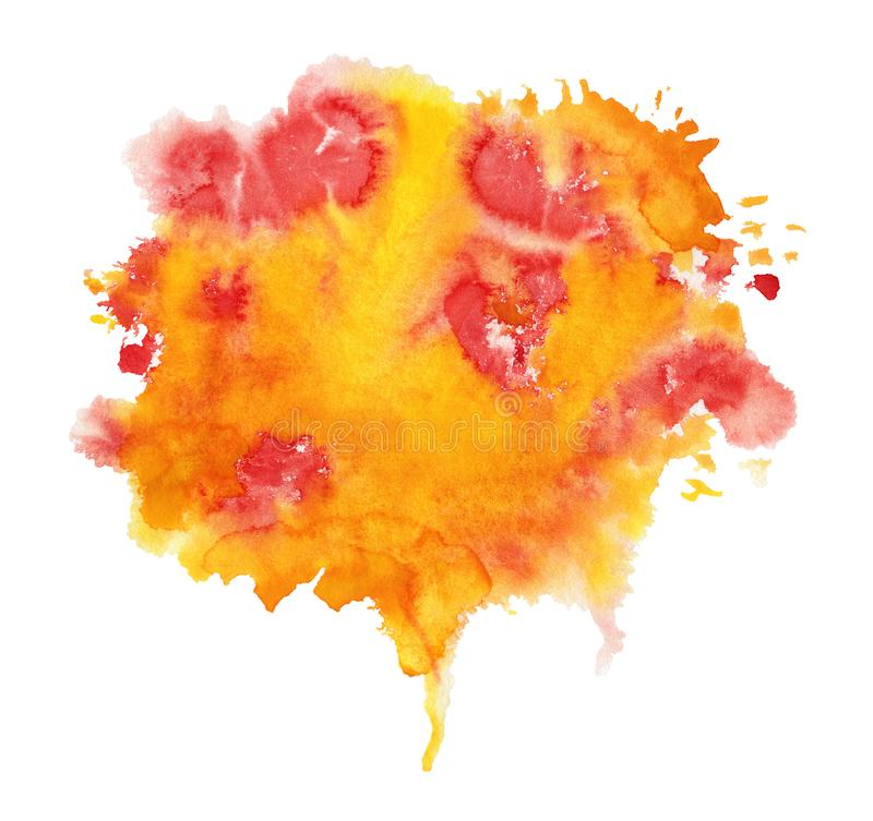 Orange and yellow Watercolor spot. Isolated on a white background vector illustration