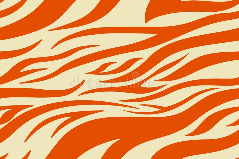 Orange Zebra print. Stripes, animal skin, tiger stripes, abstract pattern, line background. Black and white vector monochrome royalty free illustration