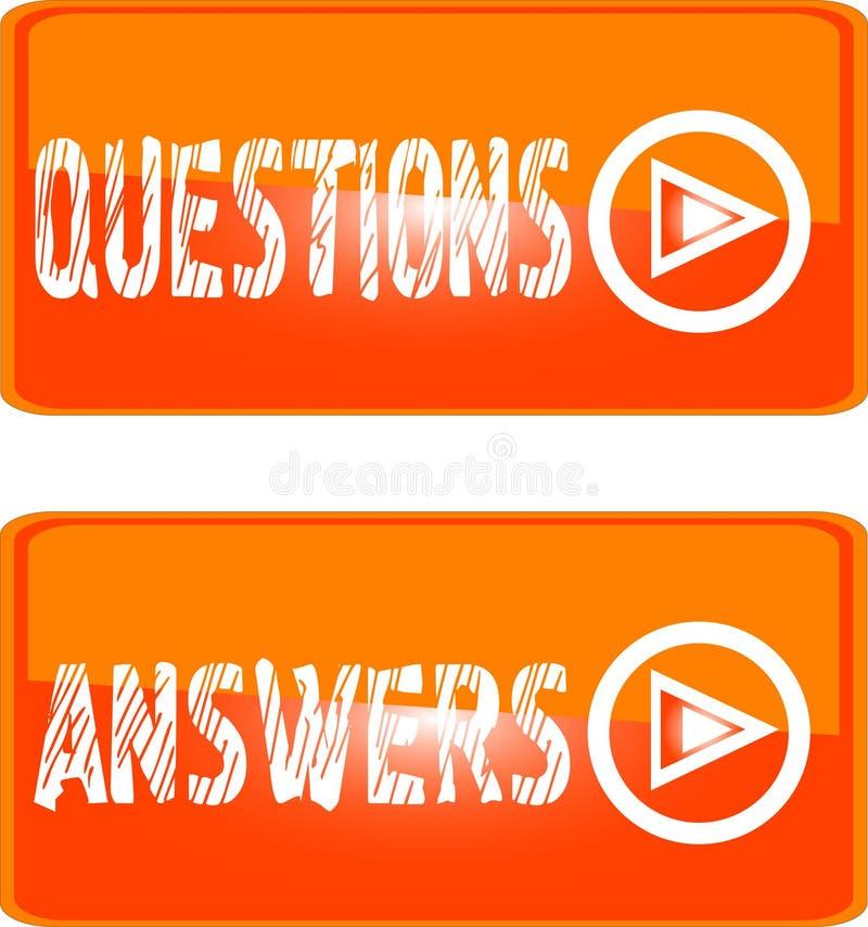Orange Zeichenikonen-Fragenantworten stock abbildung