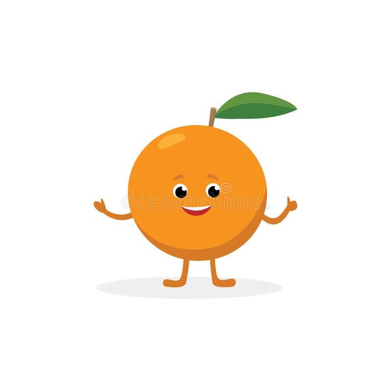 Orange Zeichentrickfilm-Figur lokalisiert auf weißem Hintergrund Gesunde Nahrungsmittellustiges Maskottchen der orange Fruchtvekt stock abbildung