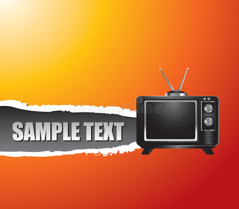 Orange zerrissene Fahne des Retro- Fernsehens lizenzfreie abbildung