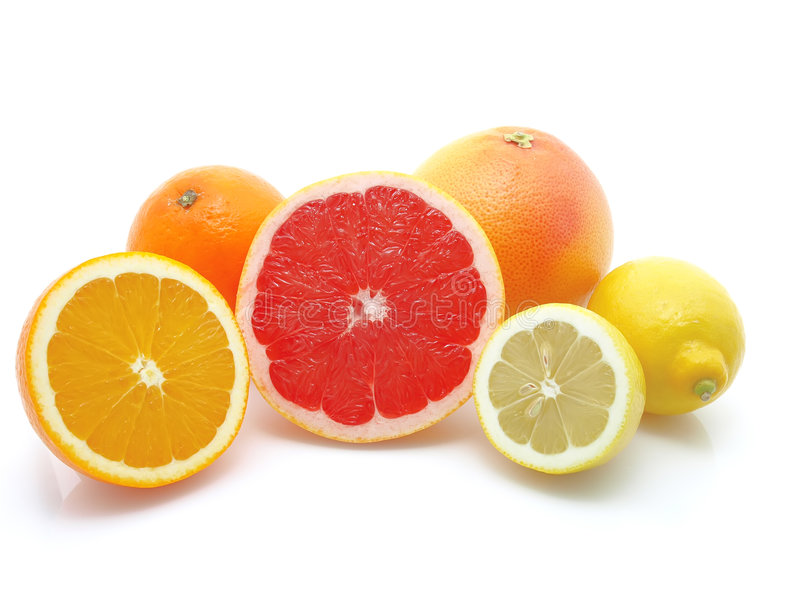 Orange, Zitrone und Pampelmuse stockfoto