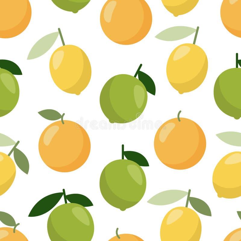 Orange Zitronenmuster des Kalkes, großer Entwurf, Netz, Druck Fruchtlebensmittel Nahtlose vektorbeschaffenheit stock abbildung