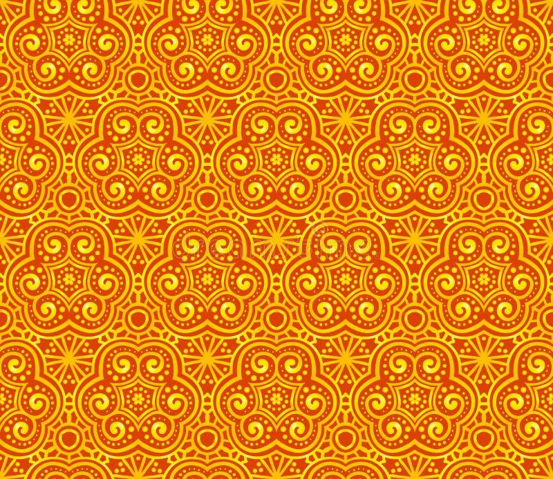 Orange Zusammenfassung kräuselt nahtloses Muster vektor abbildung