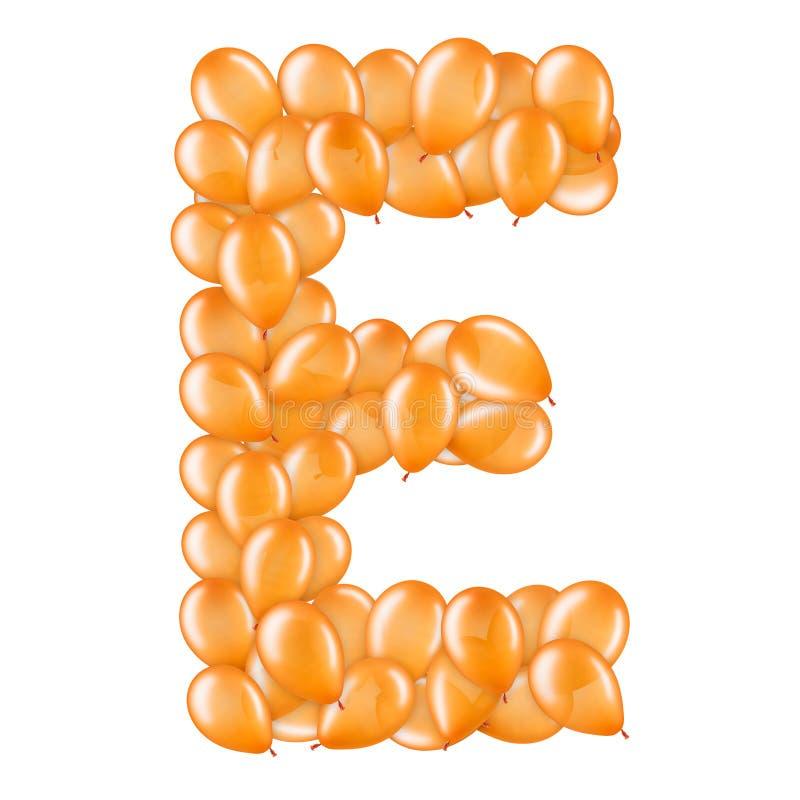 Orangefarbener Buchstabe E aus Helium-Ballonen Teil des englischen Alphabets stockfotos