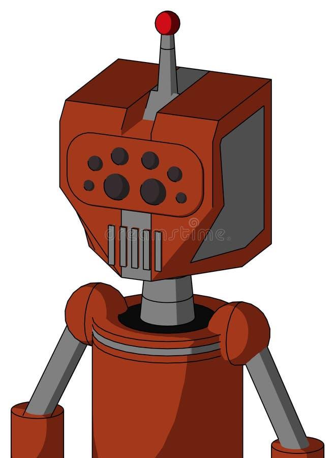 Orangefarbener Roboter mit mechanischem Kopf- und Maul- und Bug-Augen und einer Einzelantenne lizenzfreie abbildung