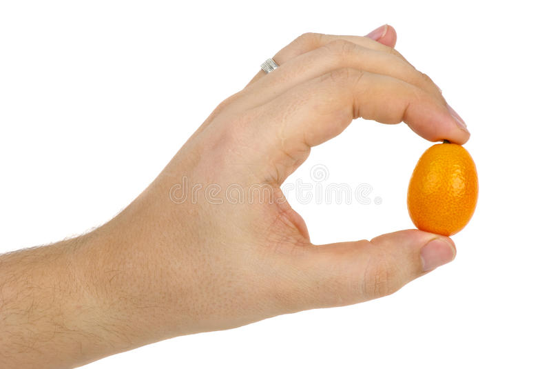 Orangefrucht in der Hand lizenzfreies stockfoto