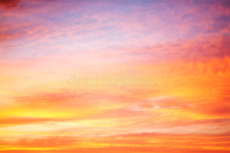 Orangel landscape with sky, clouds and sunrise stock photography