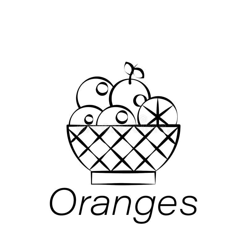 Orangen übergeben Ikone des abgehobenen Betrages Element der Landwirtschaft von Illustrationsikonen Zeichen und Symbole können fü lizenzfreie abbildung