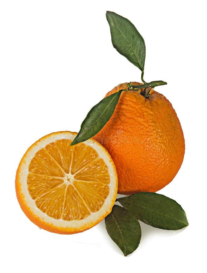 Orangen und Abschnitte auf weißem Hintergrund stockfotografie